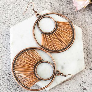 3/$20 New Copper Round Orange Statement Earrings